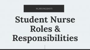 student nurse responsibilities